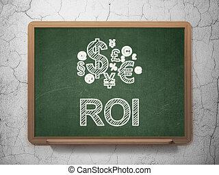 roi, grunge, finanzas, render, pared, texto, símbolo, plano ...