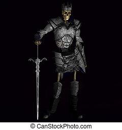 roi, guerrier, squelette, #01