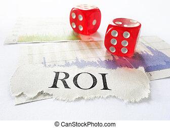 ROI headline - ROI newspaper headline with dice and stock...