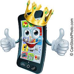 roi, homme, dessin animé, téléphone