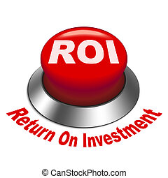 roi, investment), botón, ilustración, (return, 3d