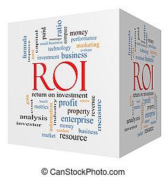 roi, kubus, woord, concept, wolk, 3d