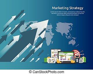 roi, levantar, investimento, cima., lucro, concept., spreadsheet, estratégia, aumento, modelo, retorno, finanças, negócio, marketing, screen., ilustração, bandeira, auditoria, charts., esticar, análise, gráficos