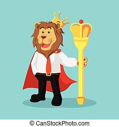 roi, lion, conception, illustration affaires