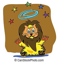 roi, lion, dessin animé, hand-drawn