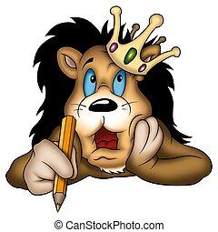 roi, lion, peintre