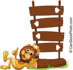 roi, lion, signages, flèche