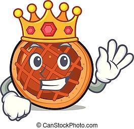 roi, mascotte, baket, dessin animé, tarte