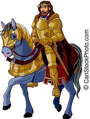 roi, moyen-âge, cheval