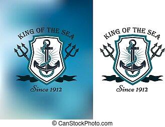 roi, nautique, écusson, mer, themed
