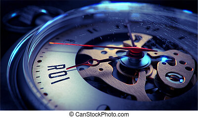 ROI on Pocket Watch Face. Time Concept. - ROI on Pocket...