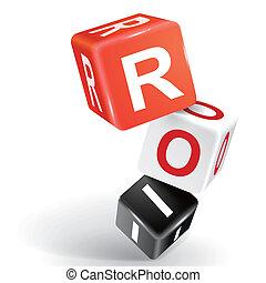 roi, palabra, dados, ilustración, 3d