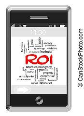 roi, palavra, nuvem, conceito, ligado, touchscreen, telefone