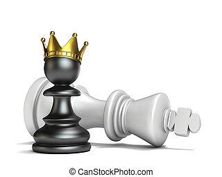 roi, pion, gagné, noir, blanc, a, 3d