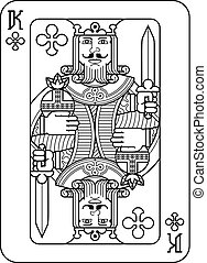 roi, piques, noir, blanc, jeu carte