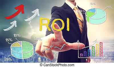 roi, rörande, (return, affärsman, investment)