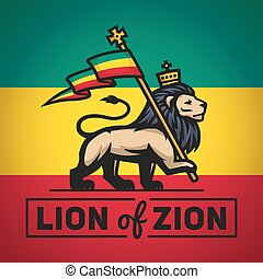 roi, rastafari, Sion, Illustration, judah, drapeau, Reggae,...