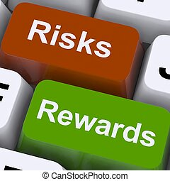 roi, recompensas, exposición, llaves, riesgos, o, pago