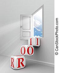 roi red word blocks to open door