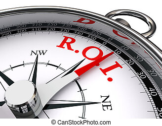 roi red word on concept compass symbol return on investment...