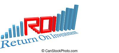 roi, regreso, empresa / negocio, gráfico, barra, inversión