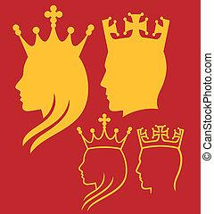 roi, reine, têtes