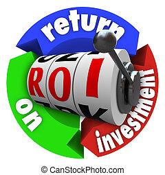 roi, rendement van investering, gleuf machine, woorden, acroniem