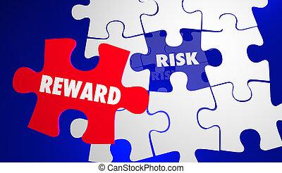 roi, retour, risque, puzzle, illustration, vs, récompense, investissement, 3d