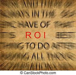 roi, retour, vendange, investment), texte, foyer, papier, blured, (