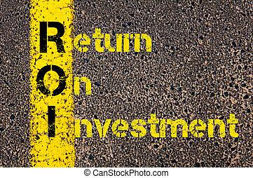 roi, retur, affär, akronym, bokföring, investering