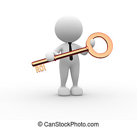 3d people - man , person with key. ROI - return on investment