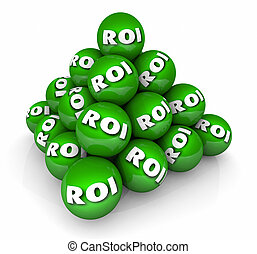 ROI Return on Investment Pyramid 3d Illustration