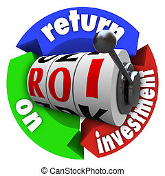 ROI Return on Investment Slot Machine Words Acronym - The...