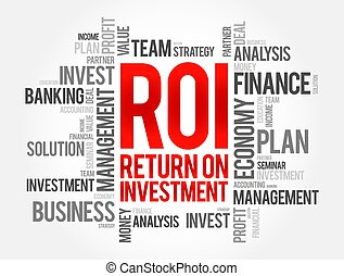 ROI - Return on investment word cloud, business concept background