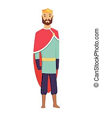roi, robes, royaume, milieu, moyen-âge, période, caractère, vecteur, couronne, illustrations., âges, royal, historique