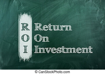 ROI acronym on green chalkboard Return On Investment