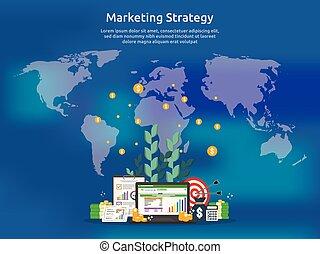 roi, salita, investimento, su., profitto, concept., foglio elettronico, strategia, aumento, sagoma, ritorno, finanza, affari, marketing, screen., illustrazione, bandiera, verifica, charts., stiramento, analisi, grafici
