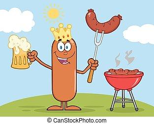 roi, saucisse, bière, tenue, heureux