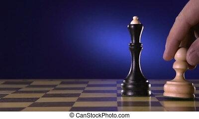 roi, sien, bas, joueur, noir, échecs, frappe, blanc, morceau