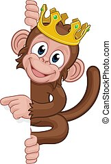 roi, singe, pointage, couronne, signe, animal, dessin animé