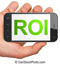 roi, smartphone, business, concept: