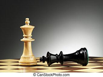 roi, stands, battu, suivant, noir, grand, blanc