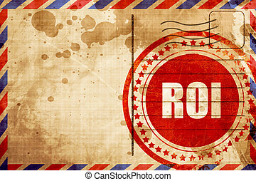 roi, red grunge stamp on an airmail background