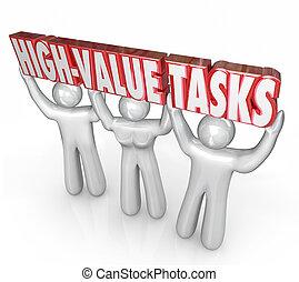 roi, tareas, trabajos, valor, prioridad, más, alto, ...