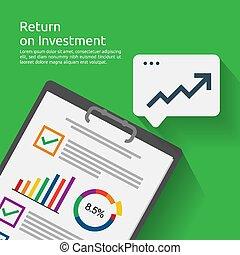 roi, tillväxt, resning, investering, success., uppe., stil, profit., concept., ökning, dokument, lägenhet, retur, finans, affär, kartlägga, illustration, rapport, baner, sträckande, pilar, vektor