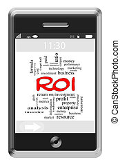 roi, touchscreen, concept, mot, téléphone, nuage