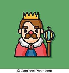 roi, vecteur, caractère, dessin animé, icône