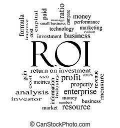 ROI Word Cloud Concept in black and white