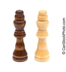rois, blanc, échecs, fond, stand