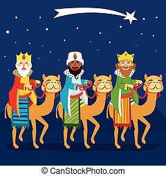 rois, trois, équitation, chameau